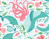 Coral Queen of the Sea by Stacy lest Hsu - Underwater Zoo in White (20512-11) - Moda - 1 Yard