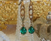 Emerald Earrings, Art Deco Earrings, Art Nouveau, Old Hollywood, Gatsby Wedding, Estate Jewelry, Retro Glam, Green Earrings, Vintage Bride