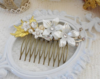 Gold Leaf Hair Comb, Jeweled Hair Comb, Vintage Bride, Pearlized Hair Comb, Wedding Flower Headpiece, Collage Hair Comb, Swarovski Crystals