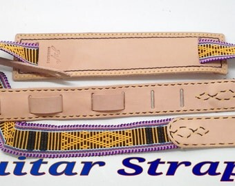guitar strap,leather,handmade,Thai,natural woven
