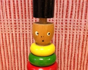 Vintage Wooden Ring Stacking Toy - Wooden Stacking Toy Man - Educational Toy - Made in Denmark