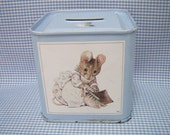 Vintage Metal Beatrix Potter Baby Bank, Nursery Decor, Useable Childs Tin Bank, Shabby Chic Nursery Art, Two Bad Mice Childrens Bank in Blue