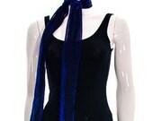 Vintage Blue Sparkly Metallic Sapphire Blue Sheer See Through Scarf Head Wrap Bandana