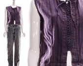 Vintage 70s Natural Purple Gray Striped Lace Up Cotton Top Sleeveless Blouse CORSET Tie Up Tank Top Small Medium