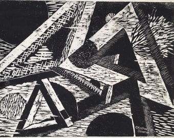 Black and White Woodblock Abstract Print