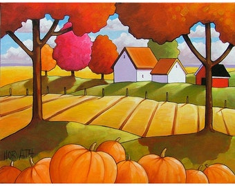 5x7 Pumpkins Art Print by Cathy Horvath Modern Folk Fall Country Field Tree Color Farm Cottage Giclee Autumn Landscape Reproduction Artwork
