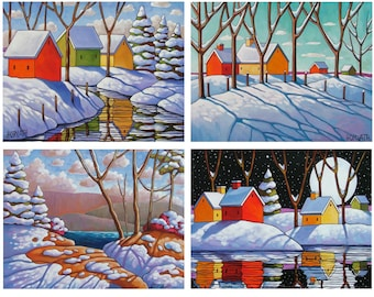 Print Set of 4, 5x7 Winter Cottage Modern Folk Art Snow Christmas Artwork Landscape Art Archival Giclee Print, Seasonal Decor by Horvath