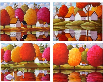Fall Art 5x7 Folk Art Print Set of 4 Autumn Wall Art Colorful Trees Water Reflection Landscape Giclee Seasonal Decor Archival Print Horvath