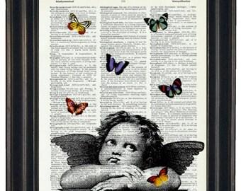 BOGO 1/2 OFF Hamilton House Prints Original Angel Art Print Paris and Butterflies Dictionary Art Print Angel and Butterflies Dictionary