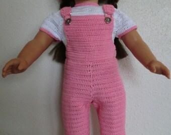AG 239 Bib Overall's & Jacket Set  Crochet Pattern for American girl dolls