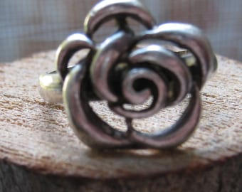 Vintage Sterling Silver Women's Ladies Ring Flower Rose Design Size 8