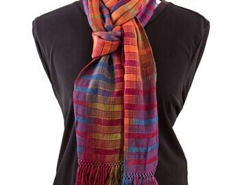 Autumn Color Organic Bamboo Scarf, Calabe Weave