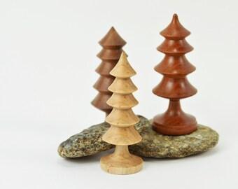 Trio of Teeny Tiny Turned Trees ~ Miniature Trees ~ Dollhouse Woodland Trees
