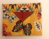 Southwestern Butterflies Quilted Fabric Mini Snap Bag Pouch