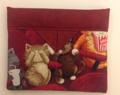 """Scaredy Cats Quilted Fabric Mini Snap Bag Purse 5"""" x 4"""""""
