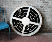 Vintage Salvaged Architectural Element Indian Metal Wood and Glass Round Window Elegant  Architectural