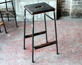 Set of 2 Bar Stools Wood and Steel Bar Stool Reclaimed Wood Industrial Stool Bar Height Hip Stool Salvaged Planks