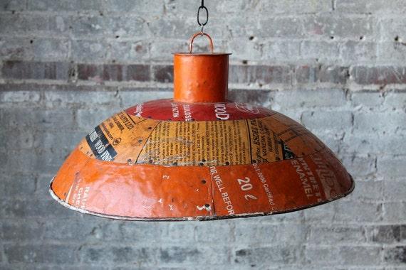 SALE Orange Red Mustard Industrial Can Hanging Reclaimed Metal