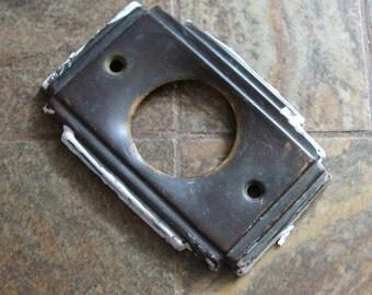 Vintage Petite Art Deco Doorknob Door Knob Doorbell Plate Escutcheon Altered Art Assemblage Restoration Craft Supply