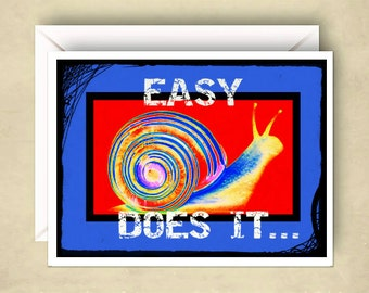 Easy Does It 12 Step Recovery Card AA Card Blank Inside Customization Available Send to Recipient