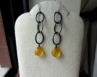 40% OFF SALE! - Indigo Brass Oval Chains Butterscotch Yellow Chalcedony Heart Briolette Earrings