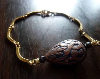 PAHLAVI - Dark Blue Paisley Teardrop and Vintage Solid Brass Curved Link Chain Bracelet