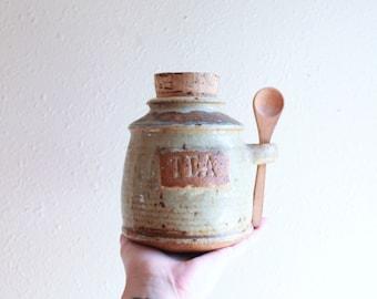 vintage stoneware tea jar