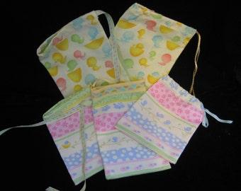 Homemade 8 Easter drawstring bags