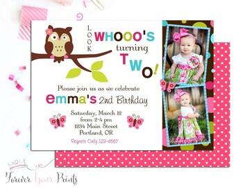 Owl Birthday Invitation, Girls Birthday Invitation, Owl Party Invite, Owl Invitation, Owl Party Invitation, 1st Birthday Invitation