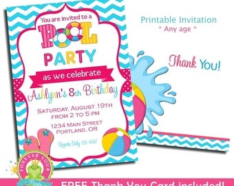 Pool Party Invitation / Pool Party Invite / Pool Party / Pool Invitation / Kids Pool Party Invitation / Indoor Pool Party Invitation