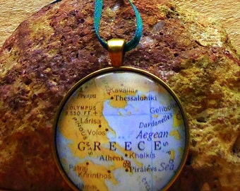 Greece Map Christmas Ornament,  Keep a memory Alive / HONEYMOON Gift / Wedding Map Gift / Travel Tree Ornament / Secret Santa / Stocking