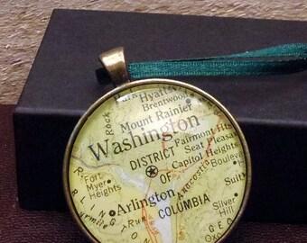 Washington DC  Map Christmas Ornament,  Keep a memory Alive / HONEYMOON Gift / Wedding Map Gift / Travel Tree Ornament / Corporate gift