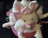 Primitive Rabbit In Easter Basket Floral Centerpiece Shelf Sitter Bunny doll