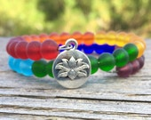 Chakra Sea Glass Beaded Energy Healing Yoga Seven 7 Boho Chic Lotus Mala Bracelet by Wave of Life™