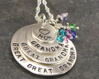 Great Great Grandma Necklace For Mother's Day - Grandma Necklace, Great Grandma - Crystals for each Grandchild or Grand kid  - For Christmas
