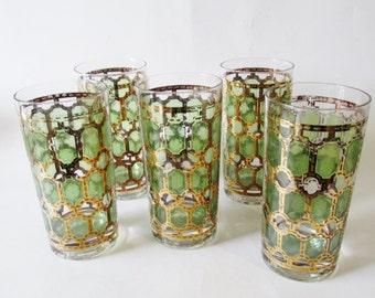 Hollywood Regency Glassware, Set of Five, Retro Barware, BoHo Chic