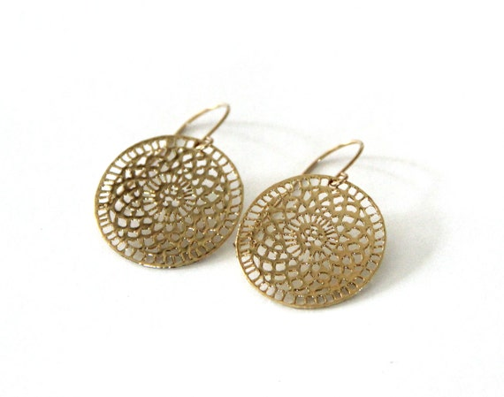 gold round earrings, 24 karat gold plated,lace rosette coin earrings