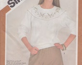 Sweatshirt Pattern Embroidery Transfers 1981 Misses Size 16 Uncut Simplicity 5308