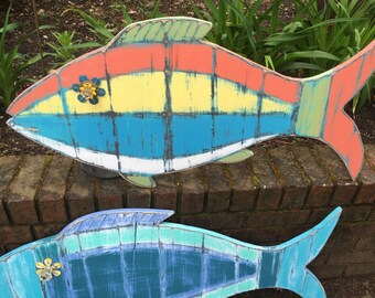 Fish Sign Tropical Wall Art Beach House Weathered Wood Decor by CastwaysHall - Ready to Ship