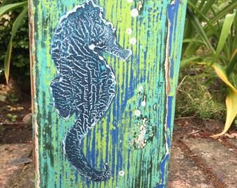 Original Painting Seascape Art Block Seahorse Beach House Decor by CastawaysHall - Ready to Ship