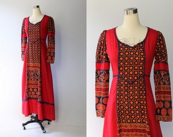 Gunne Sax Black Label Maxi Dress // 1960s Vintage Blue & Red Ethnic Print Floral Cotton Dress // Small