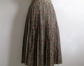 Vintage 1980s Jaegar Pleat Skirt Neutral Native Aztec Pleated Plus Size Skirt 16