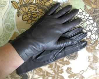 Vintage 1970s Brown Gloves NOS Dark Chocolate Leather Gloves 8