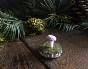 Felted wool Light Purple amanita mushroom in a white bottlecap, pastel purple magic mushroom, purple toadstool, gifts for gardeners