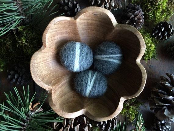 Felted wool river rocks, Natural Charcoal Grey, set of 3, grey felt pebbles, wool felt cat toys, natural children gifts, child gift under 20