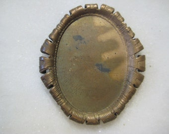 Antique Oval Frame Finding, Original Stamped Dark Patina Brass, Pendant Jewelry Frame Finding, Solid Center, 34x30mm, 1 pc.