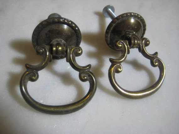 Vintage Drawer Or Cabinet Pulls Ornate Brass Drop Ring Style