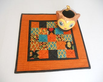 Fall Halloween Quilted Table Topper, Handmade Table Runner, Modern Table Topper, Forest Fancy by Moda, Black Orange Teal