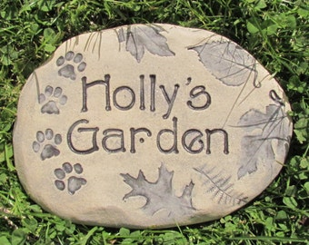 Custom pet memorial garden stones - Beautiful nature designs: woodland leaves, flowers, hummingbirds and more. Made to order pet marker