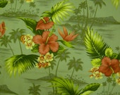 Vibrant tropical print cotton fabric 3 yards
